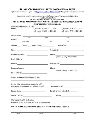 St John's Pre-K Information Sheet