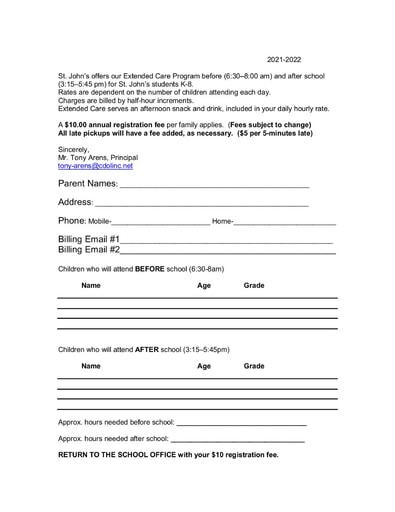 Extended Care Registration Form 2021-22