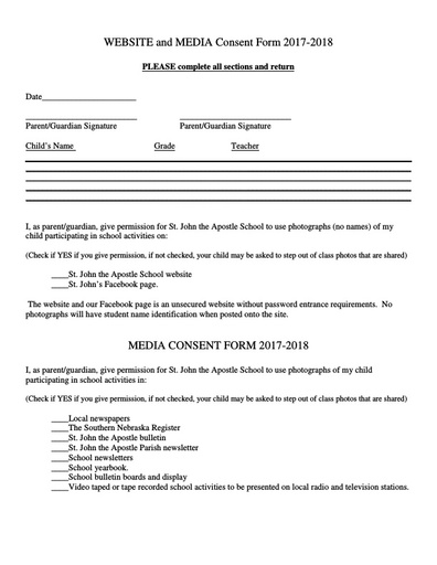 Website and Media Consent Form