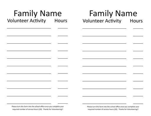 Volunteer Service Hours
