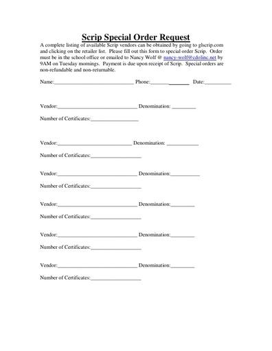Scrip Special Order Form