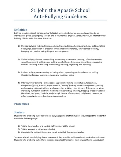 Anti‐Bullying Guidelines